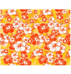 Floral seamless Hawaiian background with hibiscus vector image