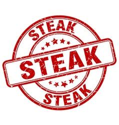 Steak red grunge round vintage rubber stamp vector