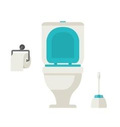 flat toilet toilet paper toilet brush vector image