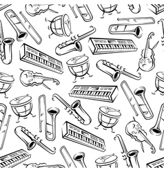 Musical instruments seamless pattern background vector