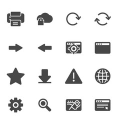 black browser icons set vector image vector image