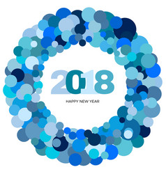 blue circles and the inscription happy new year vector image