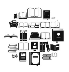 Book icons set simple style vector