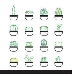 cactus line icon set vector image vector image