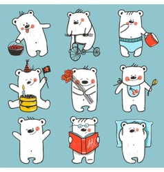 Cartoon baby bears in action collection vector