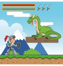 Dragon warrior and videogame design vector
