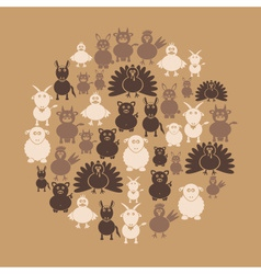 farm animals simple icons in circle eps10 vector image vector image