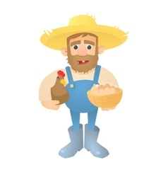 Farmer with hen and eggs icon flat style vector