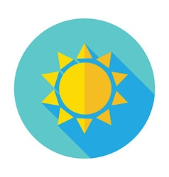Flat Sun Sunlight Circle Icon with Long Shadow vector image vector image
