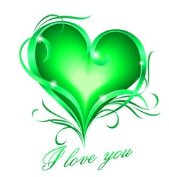 Green heart with i love you text vector
