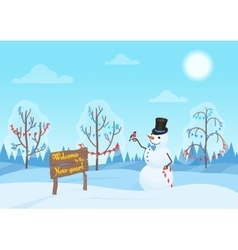 Greeting Christmas card snowman in the forest vector image