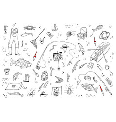 hand drawn fishing setfishing stuff in doodle vector image vector image
