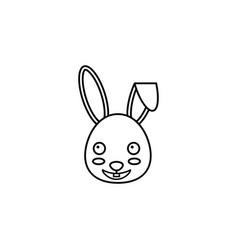 happy easter bunny line icon vector image
