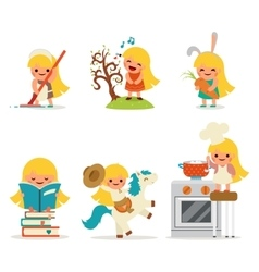 Happy little girl smiling child icon set concept vector