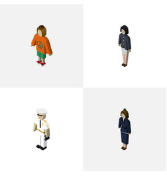 Isometric people set of businesswoman girl vector