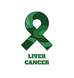 Liver cancer awareness papercut ribbon vector
