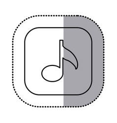 Monochrome contour with square sticker of musical vector