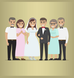 Newly married couple with parents-in-law vector