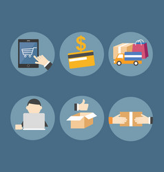 Online shopping on mobile device vector image