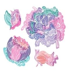 Pastel doodle romantic flowers vector