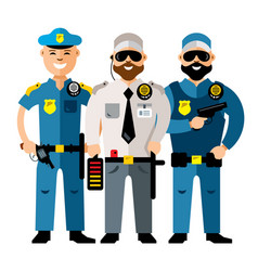 Policeman and security flat style colorful vector