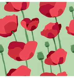 Red poppies on field seamless pattern vector