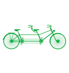 Retro tandem bicycle in green design vector