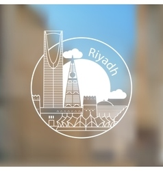 Riyadh linear logo trendy stylish landmarks vector