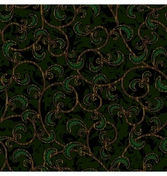 seamless floral dark green damask pattern vector image