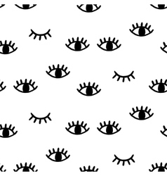 Seamless pattern with open and winking eyes vector image