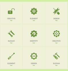 set of 9 editable toolkit icons includes symbols vector image