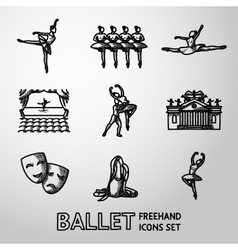 Set of Ballet freehand icons with - ballet dancers vector image vector image