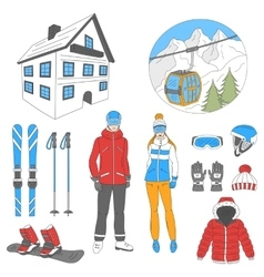 Ski resort icons set vector