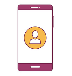 Smartphone device with contact isolated icon vector