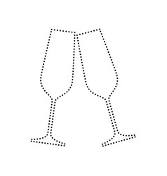 Sparkling champagne glasses black dotted vector