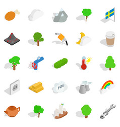 sweden weather icons set isometric style vector image