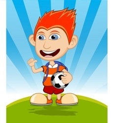 The boy carrying the ball and backpack is waving vector image vector image