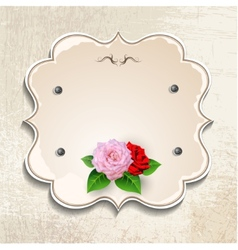 Vintage frame with roses vector image