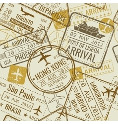 Vintage travel visa passport stamps vector
