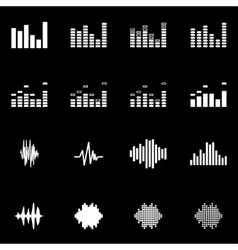 white music soundwave icon set vector image vector image