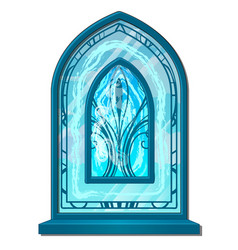 Window of ice in old style with ornament vector