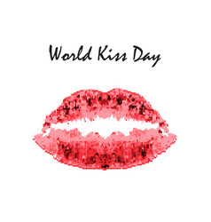 World kiss day 6 july watercolor red lips vector