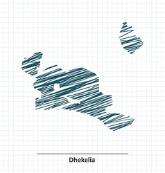 Doodle sketch of dhekelia map vector