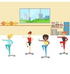 Aerobics Class With Step Equipment  Member Of The vector image