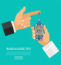 Blood glucose meter in hand vector