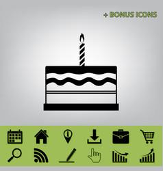 birthday cake sign  black icon at gray vector image