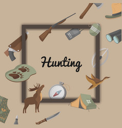 Hunting poster with hunter ammunition icons vector