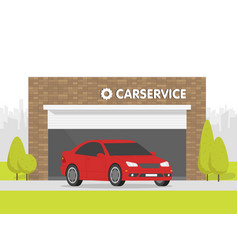 Automobile repair shop garage the car on vector