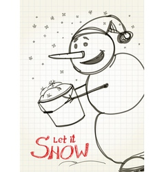 Christmas card snowman collecting snow to bucket vector