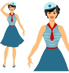Beautiful pin up sailor girl 1950s style vector